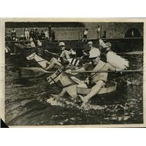 1929 Press Photo Aquatic Wooden Horse Race on Halle River, Germany - ney12822
