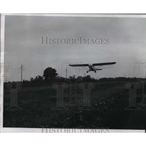 1958 Press Photo A plane swooped low over a field near Brillion on a spray run