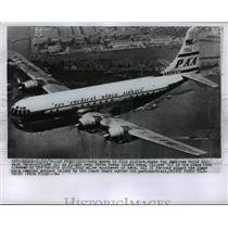 1956 Press Photo Pan American Airlines Stratoclipper flies over Yarba Buena