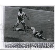 1956 Press Photo Reds infielder Johnny Temple out at second by Giants Alvin Dark