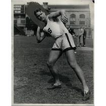 1930 Press Photo NCAA record shot-putter Harlow Nothbert of Stanford - net08829