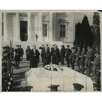 1928 Press Photo Coolidge, Davis and Wilbur Honor Unknown Soldier, Armistice Day