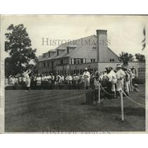 1928 Press Photo Johnny Farrell driving off tee as gallery watches - nez24314