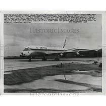 1959 Press Photo Douglas DC-8 Jet Airliner Plane at Idlewild Airport - ney19345