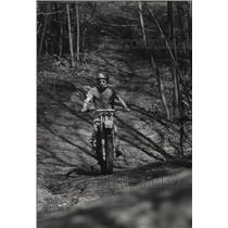 1980 Press Photo A man bicycling at Reynolds Woods, Butler, Wisconsin