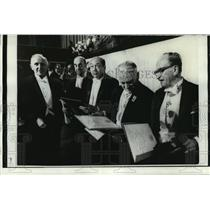 1971 Press Photo Five Nobel Prize winners presented to by King Gustav Adolf