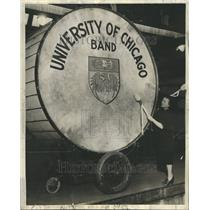 1938 Press Photo University Of Chicago Band Giant Drum