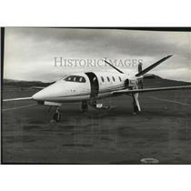 1983 Press Photo Lear Fan turboprop on the factory runway in Stead Nevada