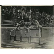 1932 Press Photo J.C. Hall wins 110m high hurdles in decathlon at Penn Relays