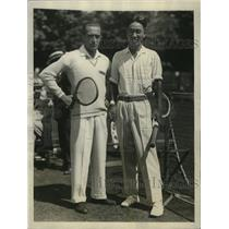 1927 Press Photo Tennis players Henri Cochet and Yoshiro Ohta before match