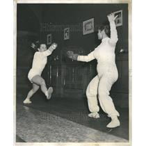1953 Press Photo Fencing
