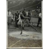 1928 Press Photo West Engleman Jr. wins discus throw at AAU Championship