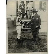 "1926 Press Photo jockey G. J. Allen shaking hands with Tom ""Pop"" Cheens"
