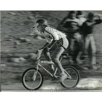 1980 Press Photo Cyclist Jeff Wimmer on his way to winning first place