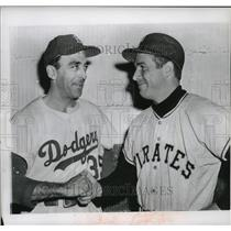 1956 Press Photo Friendly smile is given by Bob Friend, (r), Pittsburgh pitcher