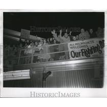 1956 Press Photo Fans welcome Braves at Gen. Mitchell field. - mjs04150