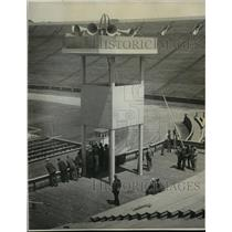 1928 Press Photo Hoover tests microphone for acceptance speech, Stanford Stadium