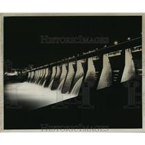 1954 Press Photo Kentucky Dam, a generating plant & a scenic view at night