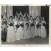 1961 Press Photo Seven of Court Maids in  twelfth Night Revelers Ball.