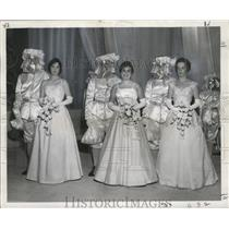 1960 Press Photo Seven Court Maids in the Twelfth Night Revelers Ball.
