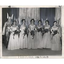 1961 Press Photo Six of the thirteen Court Maids in Twelfth Night Revelers Ball.