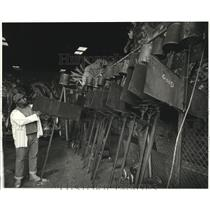 1987 Press Photo Mardi Gras Flambeax Carriers Storage building New Orleans