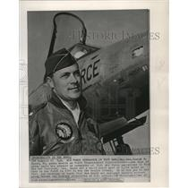 1965 Press Photo Maj. Gen Joseph H. Moore, 50, poses beside F 105 Thunderchief.