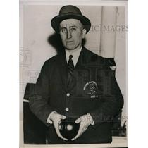 1935 Press Photo T. C. Hills, capt. of British bowling team, American Cup match