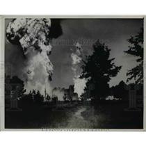 1936 Press Photo Republic Production Company Oil Well Burning, Silsbee, Texas