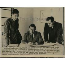 1952 Press Photo P Hillwood, Roland Beaumont, D Watson Plan TransAtlantic Flight