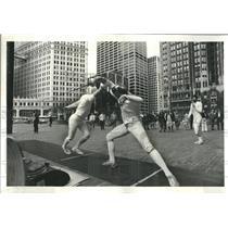 1979 Press Photo Fencing Edward Longstreet George Peche - RRR32081