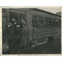 1930 Press Photo Street Car Seats and Straps Taken