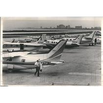 1980 Press Photo Meigs Field Crowded Stacked Planes
