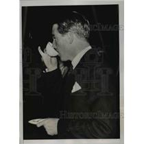1937 Press Photo Anthony Eden Reflectively Drinks Tea During Nine Power Conf.