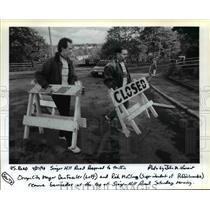 1991 Press Photo Mayor Dan Fowler & Rick McClung at Singer Hill Road reopening