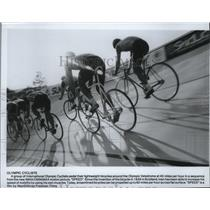 1985 Press Photo International Olympic Cyclists pedal at 40 miles per hour
