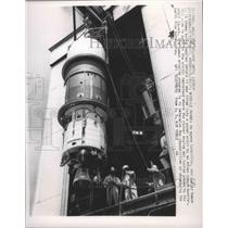 1960 Press Photo Agena Satellite Being Prepped Before it Was Fired into Orbit