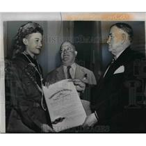 1950 Press Photo Daniel Boone becomes a Colonel of Kentucky - nef34208