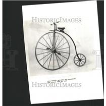 1987 Press Photo Cast Iron And Wooden High Wheel Bicycl