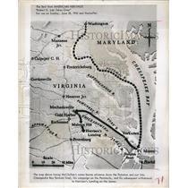 """1961 Press Photo Map McClellan's Advance Down Potomac """"American Heritage"""""""