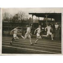 1928 Press Photo N. G. Stockton winning 100 Yard Dash, Oxford University
