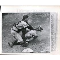 1962 Press Photo White Sox Floyd Robinson slides home vs Tigers' Dick Brown