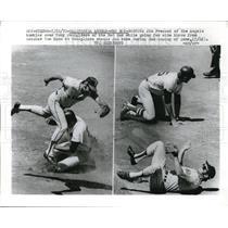 1970 Press Photo Angels' Jim Fregosi tumbles over Red Sox' Tony Conigliaro