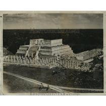 1932 Press Photo Ancient Mayan Temple in Yucatan, Mexico - lfx01895