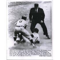 1956 Press Photo Indians' Bob Avila slides safely to 3rd vs Detroit's Ray Boone