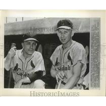 1954 Press Photo Joe Cunningham and Eddie Stanky of St Louis Cardinals