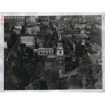 1955 Press Photo Independence Hall, Philadelphia, Pennsylvania Aerial View