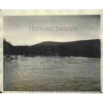 1927 Press Photo View of White River in Junction Vermont Showing Heavy Waters