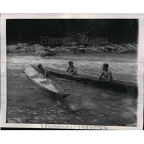 1955 Press Photo Campa Indians Fishing with Poison in Canoes, Peruvian Jungle
