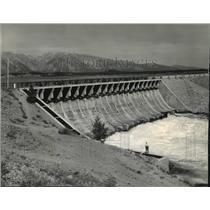 1955 Press Photo Jackson Lake Dam, Wyoming, supplies water in Snake River Valley